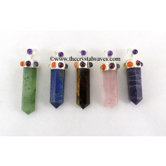 Mix Gemstone Pencil Chakra Pendant