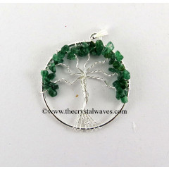 Green Aventurine Chips Tree Of Life Pendant