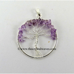 Amethyst Chips Tree Of Life Pendant