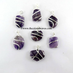 Amethyst Mix Shape Cage Wrapped Pendant