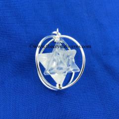 Crystal Quartz Merkaba Cage Pendant