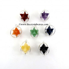 Mix Gemstone  Merkaba Cage Pendant