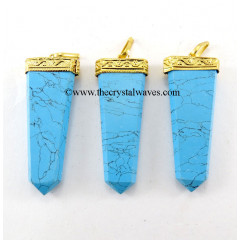Turquoise Manmade Flat Pencil Metal Capped G.P. Pendant