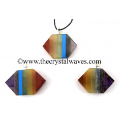 7 Chakra Bonded Flat Double Point Pendant