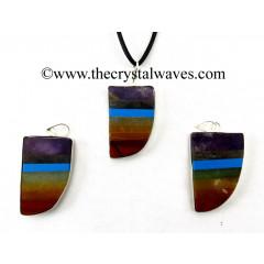 7 Chakra Bonded Flat Nail Shape Framed Pendant