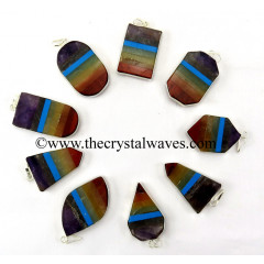 Mix Assorted Shapes Flat 7 Chakra Bonded Framed Pendants