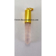 Rose Quartz Bullet Cap G.P. Pencil Pendant