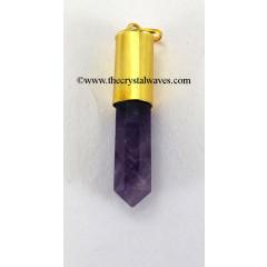 Amethyst Bullet Cap G.P. Pencil Pendant