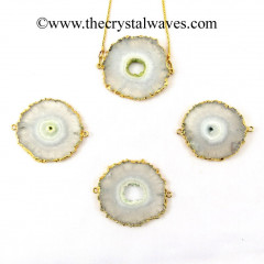 Solar Quartz Big Size Round Connector Pendant