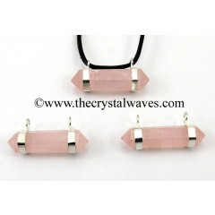 Rose Quartz D.P. Flat Double Loop S.P Pendant
