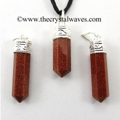 Red Goldstone Capped Pencil Pendant