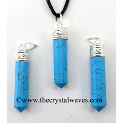 Turquoise Manmade Capped Pencil Pendant