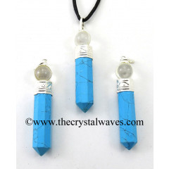 Turquoise Manmade 2 Piece Pencil Pendant
