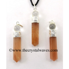 Peach Moonstone 2 Piece Pencil Pendant