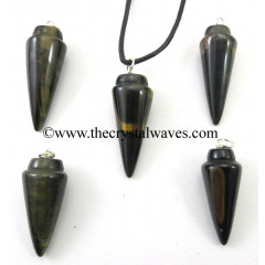 Blue / Black Tiger Eye Agate Smooth Pendulum Pendant