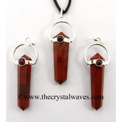 Red Jasper D.P Pencil Pendant W/Garnet