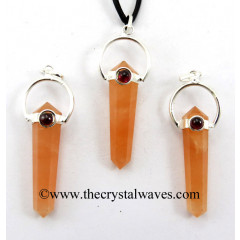 Peach Moonstone D.P Pencil Pendant W/Garnet