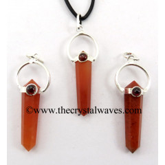 Red Aventurine D.P Pencil Pendant W/Garnet