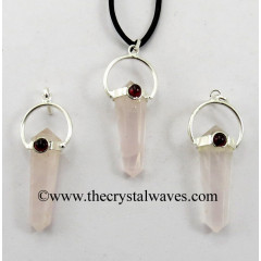 Rose Quartz D.P Pencil Pendant W/Garnet