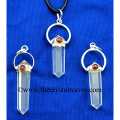 Crystal Quartz D.P Pencil Pendant W/Garnet