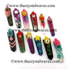 Mix Assorted Stones Tibetan Style Flat Pencil Pendants