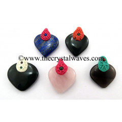 Mix Assorted Stones Tibetan Style Heart Shape Pendants