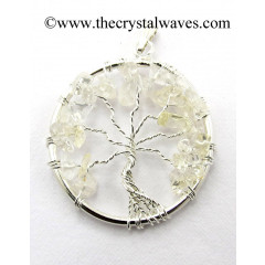 Crystal Quartz Chips Tree Of Life Pendant