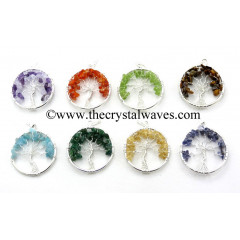 Mix Assorted Gemstone Chips Tree Of Life Pendant