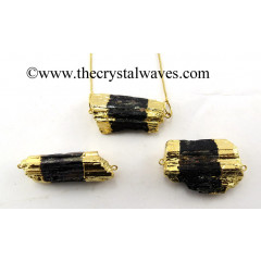 Black Tourmaline Rough Gold Electroplated Connector / Pendant