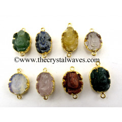 Mix Assorted Gemstone Ganesha Cabochon Gold Electroplated Connector / Pendant
