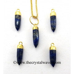 Lapis Lazuli Small Bullet Gold Electroplated Pendant