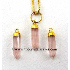 Rose Quartz Small Bullet Gold Electroplated Pendant