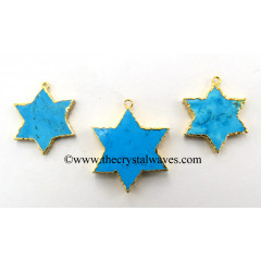 Turquoise / Howlite Star Shape Gold Electroplated Pendant