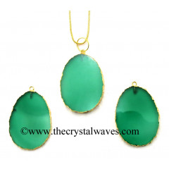 Green Chalcedony Egg Shape Gold Electroplated Pendant