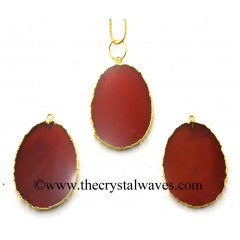 Red Chalcedony Egg Shape Gold Electroplated Pendant