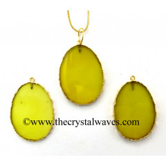 Yellow Chalcedony Egg Shape Gold Electroplated Pendant