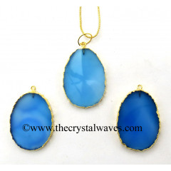Blue Chalcedony Egg Shape Gold Electroplated Pendant