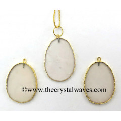 Light Pink Chalcedony Egg Shape Gold Electroplated Pendant