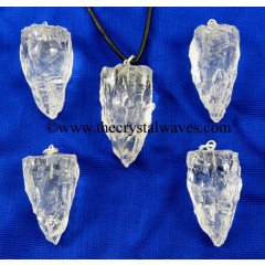 Crystal Quartz Handknapped Cone Shape Pendant