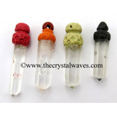 Crystal Quartz Tibetan Style Pencil Pendants