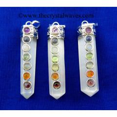 Selenite Pencil Chakra Pendant