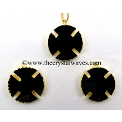 Black Onyx Viking's Cross Gold Electroplated Pendant