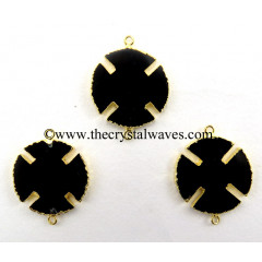 Black Onyx Viking's Cross Gold Electroplated Connector / Pendant