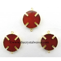 Red Chalcedony Viking's Cross Gold Electroplated Connector / Pendant