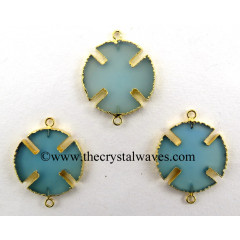 Blue Chalcedony Viking's Cross Gold Electroplated Connector / Pendant