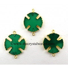 Green Chalcedony Viking's Cross Gold Electroplated Connector / Pendant