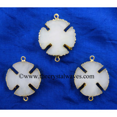 Snow Quartz Viking's Cross Gold Electroplated Connector / Pendant