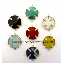 Mix Assorted Gemstones Viking's Cross Gold Electroplated Connector / Pendant