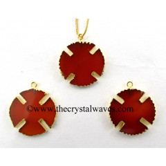 Red Chalcedony Viking's Cross Gold Electroplated Pendant