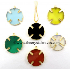 Mix Assorted Gemstone Viking's Cross Gold Electroplated Pendant